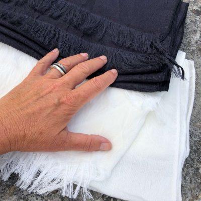 Sjal stor ull och bomull